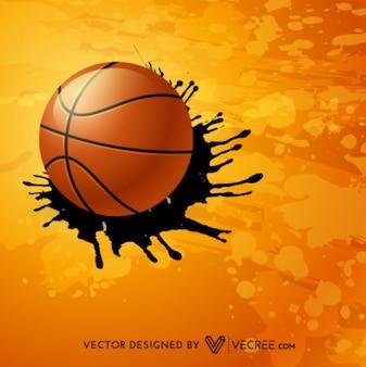 Basket-ball avec fond orange éclaboussures