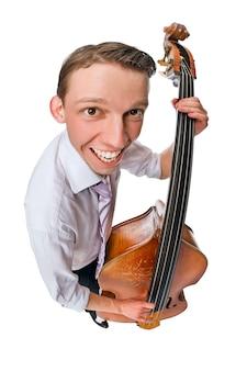 Bass viol player sur fond blanc