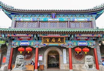 Bâtiment, temple, verre, chinois, temple, dehors