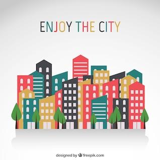 bâtiments de la ville dans la conception plat
