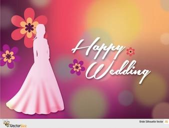 Belle silhouette de jeune mariée sur fond coloré