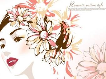 Belle femme avec des fleurs sur sa tête