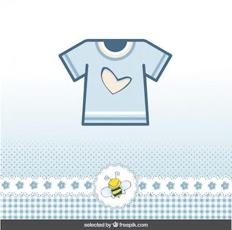Bébé carte de douche avec t-shirt bleu