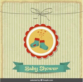 Bébé carte douche vintage avec des chaussettes mignon
