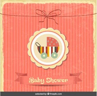 Bébé douche carte vintage avec la poussette de bébé