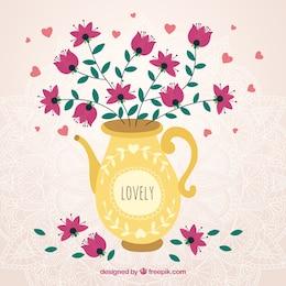 Belle vase avec des fleurs