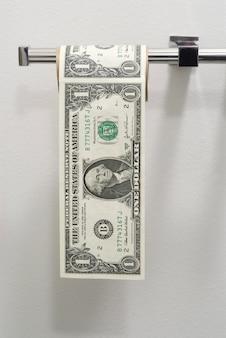 Billets de dollars en papier toilette