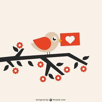 Oiseau avec lettre d'amour