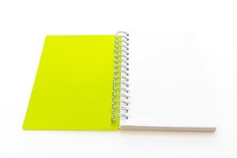 Bloc-notes jaune ouvert