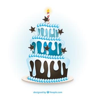 Gâteau d'anniversaire bleu dans un style de bande dessinée