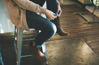 Bottes et jeans
