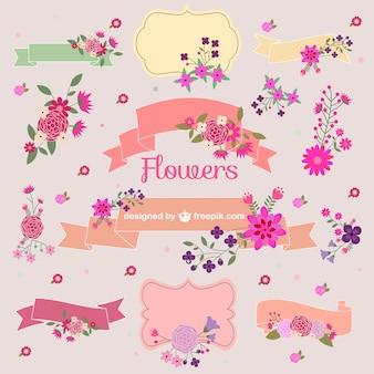 Bouquets de fleurs vecteur éléments graphiques