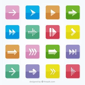 Boutons colorés avec des icônes fléchées