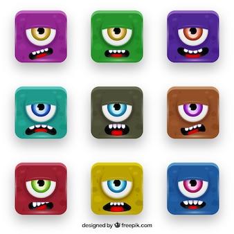 Boutons de monstres colorés