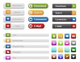 Boutons et icônes site web commun