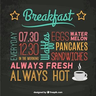 Menu de petit déjeuner