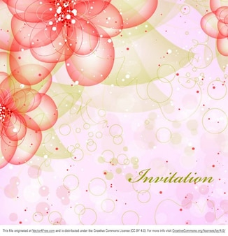 Carte lumineuse d'invitation floral fond