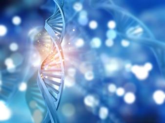 Brins d'ADN 3D sur un fond abstrait