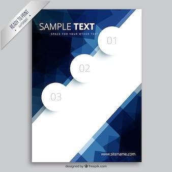 Brochure avec des polygones bleus