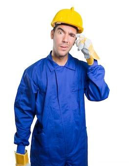 Brouillé ouvrier sur fond blanc