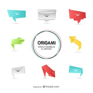 Bulles et des flèches de la parole de style origami mis