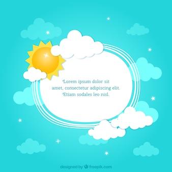 Cadre avec le soleil et les nuages