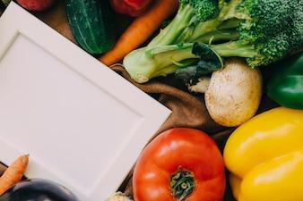 Cadre et différents types de légumes