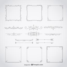 Calligraphique cadres ensemble décoratif floral