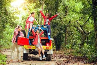 Campagne, fille, voyage, loisir, route, ensemble