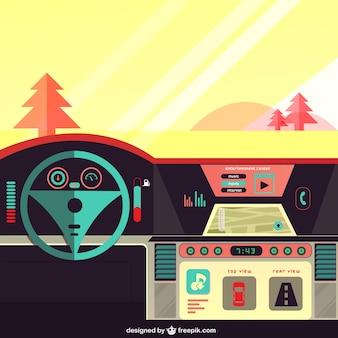 Tableau de bord de voiture sur la route
