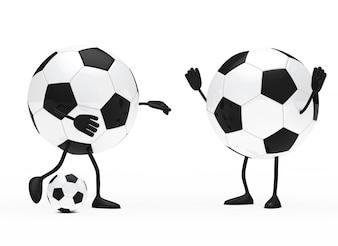 Caractères ronds jouant au football
