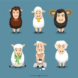 caricatures de moutons mis