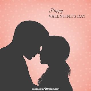 Carte couple romantique silhouette