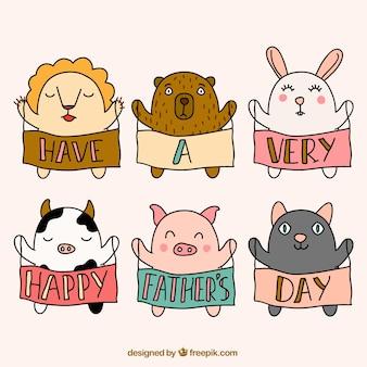 Carte de fête des pères avec des animaux sommaires