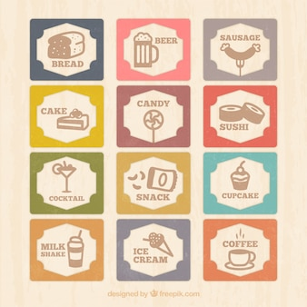 Carte de menu avec des icônes millésime alimentaires