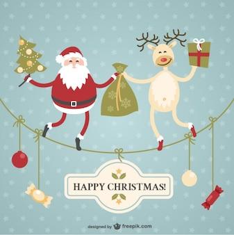 Carte de Noël avec le Père Noël et le renne
