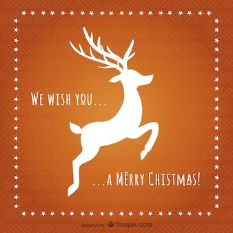 Carte de Noël avec le renne silhouette