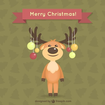 Carte de Noël avec renne