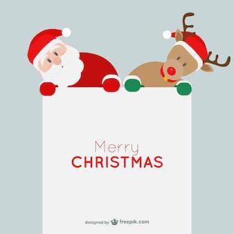 Carte de Noël minimaliste avec le Père Noël et les rennes