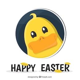 Carte de Pâques avec canard mignon