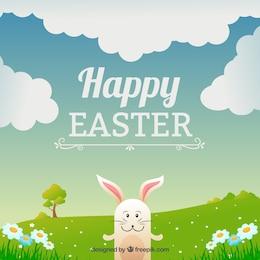 Carte de Pâques avec un lapin heureux