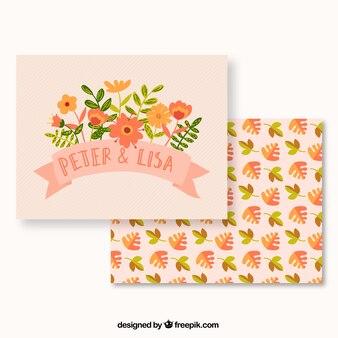 Carte mignonne de mariage floral