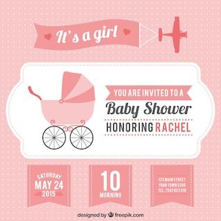 Carte rose de douche de bébé Girl