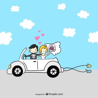 Cartoon couple vient de se marier