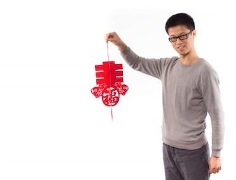 Célébrer la main chine homme regardant
