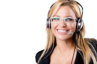 Centre d'appel femme blonde avec casque