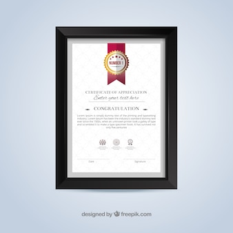 Certificat de modèle de appretiation