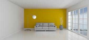 Chambre avec un mur jaune et un canapé