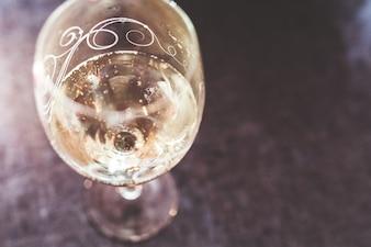 Champagne plateau en verre vue