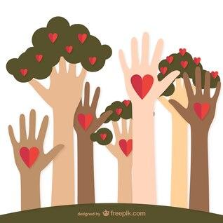 Charité aidant des mains et des arbres